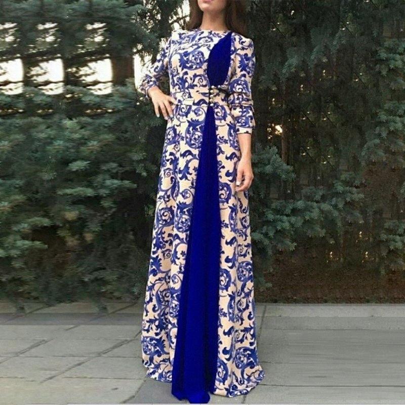 Осень 2020 Платья Размер платья женщин вскользь с длинным рукавом Лоскутная Printed Maxi платье плюс для женщин 4XL 5XL 6XL Дамы Frocks qDW5 #