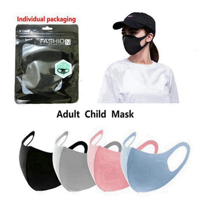 Réutilisable Masque lavable anti-poussière bouche Housse de protection Adultes Taille Kids Masque Anti-bactérien Ice Silk Cotton Anti poussière Masques 800pcs