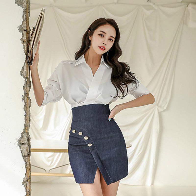 Plus Size 2020 Summer Korean Style Office Work 2 Piece Set for Women White Shirt Blouse and Mini Wrap Sheath Skirt Ladies Suit