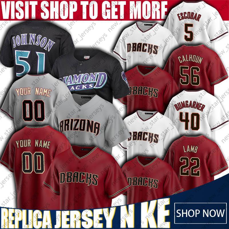 Özel Beyzbol Formaları 51 Randy Johnson Jersey 56 Kole Calhoun Formaları 40 Madison Bumgarner Jersey Nick Ahmed Christian Walker