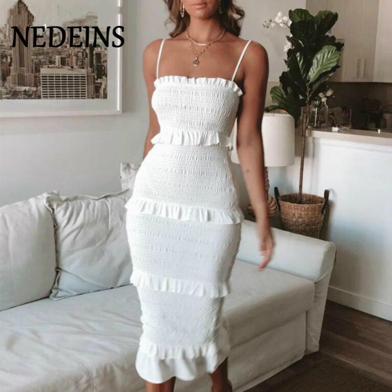 أزياء الصيف فستان طويل الرافعة نساء حزب اللباس عادية أنثى الكشكشة Vestidos زائد الحجم الطبيعي الصلبة اللباس السيدات الملابس