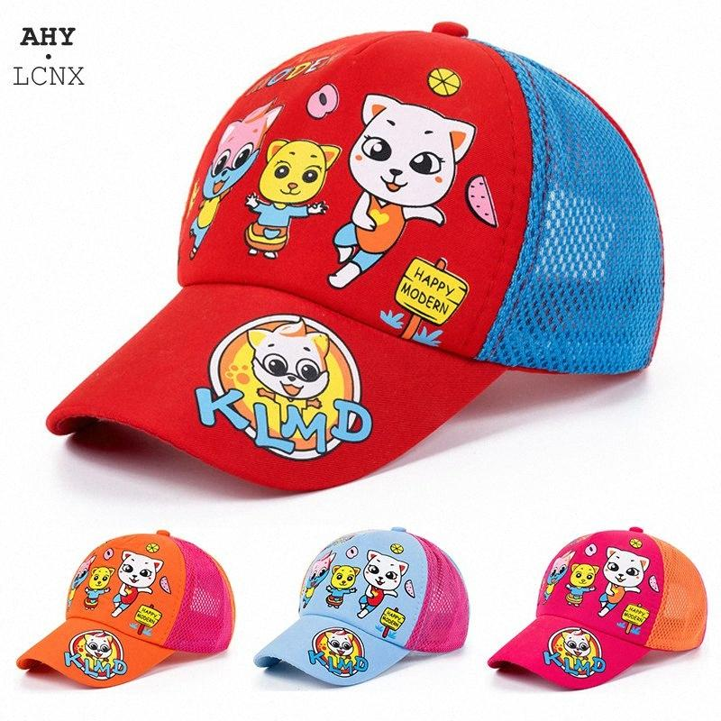 2020 2020 Summer New Korean Baby Baseball Caps Childrens Boys Girls Hats Kids Snapback Cartoon Cat Mesh Sun Cap Baby Sunscreen Hat MPeJ#