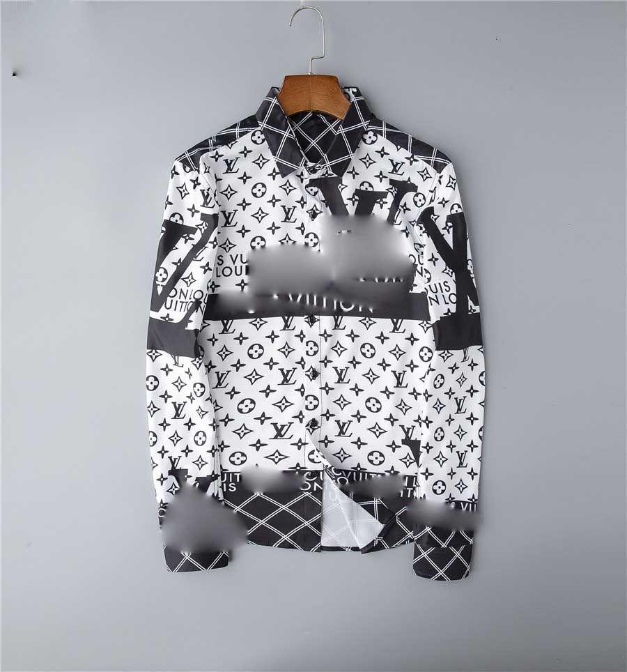Yeni erkek gömlek moda rahat gömlek erkek gömlek Medusa çiçek ince kesim erkek