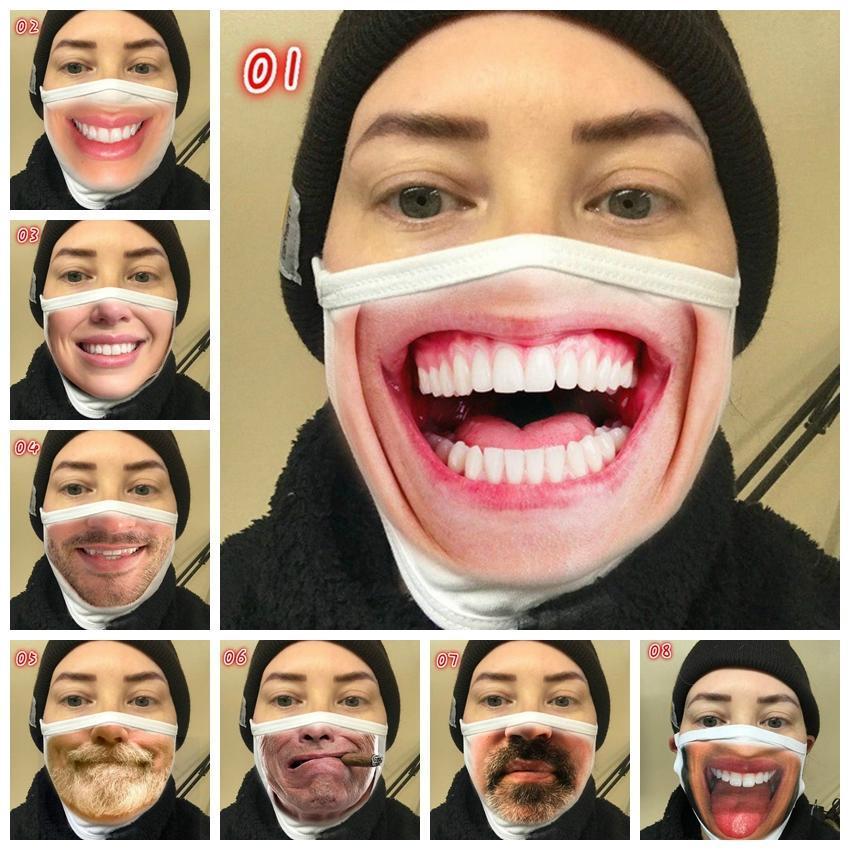 Expresión reutilizable Impresión 3D Dibujos animados de dibujos animados Máscara de la boca Divertida máscara a prueba de polvo Ultraviolet a prueba de montar en mascaras de equitación DHE1 PQEB