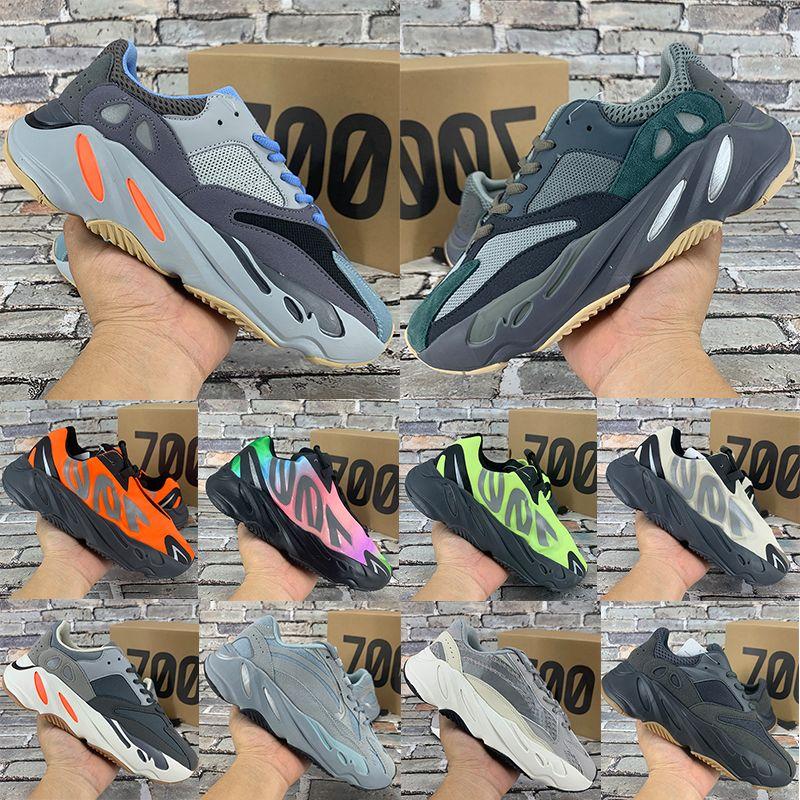 corredor nuevo de Kanye West Wave 700 zapatos corrientes del mens del tinte del lazo triple Negro de carbono azul imán de graffiti los hombres reflexivos zapatillas de deporte de las mujeres de los formadores