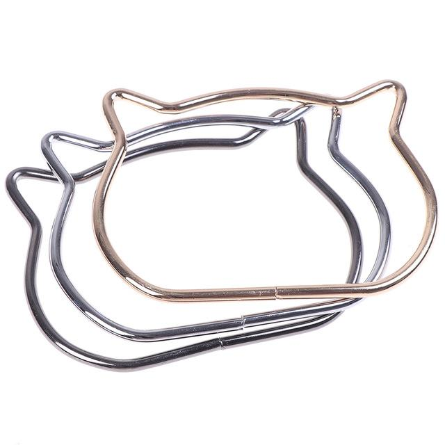 heap Parts & Accessories Women Cute Cat Ear Metal Bag Handles Replacement For DIY Shoulder Bags Making Casual Handbag Strap Bag Accessor...