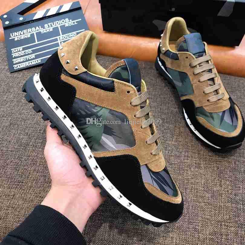 Chegada Nova Casual Shoe Homem Mulher Sneakers Plano de moda cores misturadas Vermelho Rosa Verde Spikes Sneaker Designer sapatos tamanho 35-44