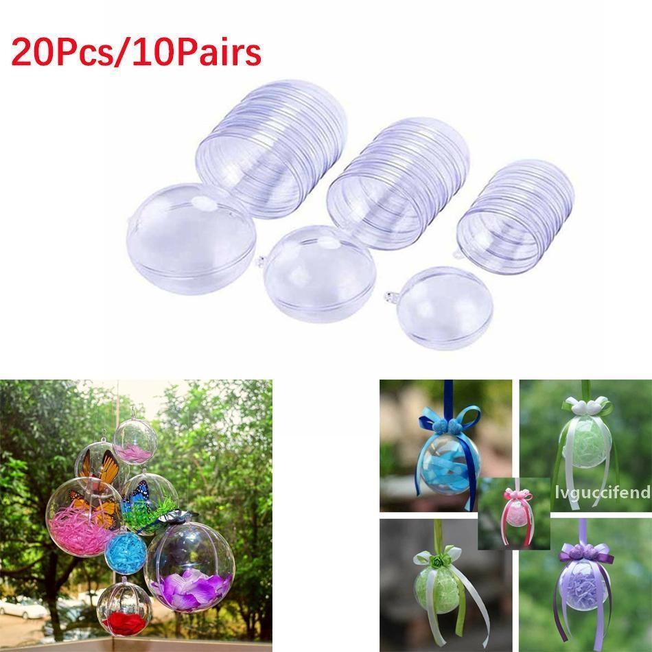 20Pcs/10 Pairs Christmas Tree Decorations Ball Transparent Open Plastic Clear Bauble Ornament Gift Present Box Decoration