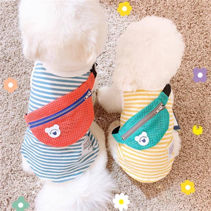 2019 camisa de ropa para perros animal doméstico del verano del chaleco Ropa para la camisa de los perros del traje de rayas chaleco del perro de perrito para los pequeños perros mascotas ropa T200710