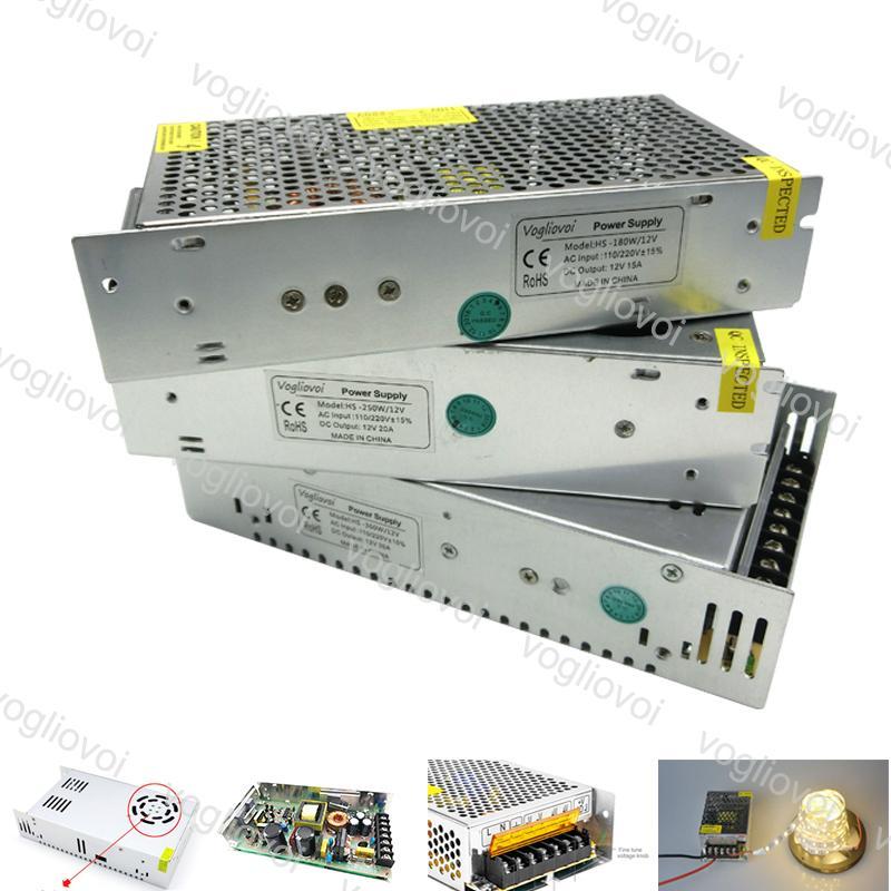 إضاءة محول التبديل إخراج سائق DC12V 24V 120W 360W 500W 110-240V الملحقات الألومنيوم ل LED شرائط أضواء وحدات DHL