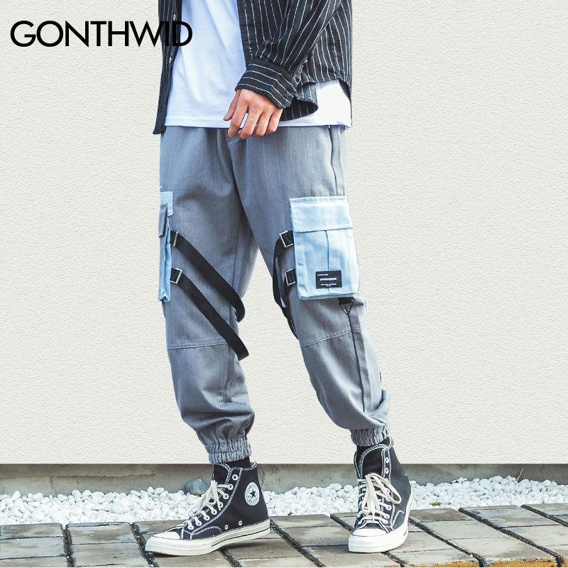 GONTHWID cinta de múltiples bolsillos Harem Joggers pantalones casuales pantalones de los hombres de Hip Hop Harajuku Streetwear pantalón Moda Pantalones T200728