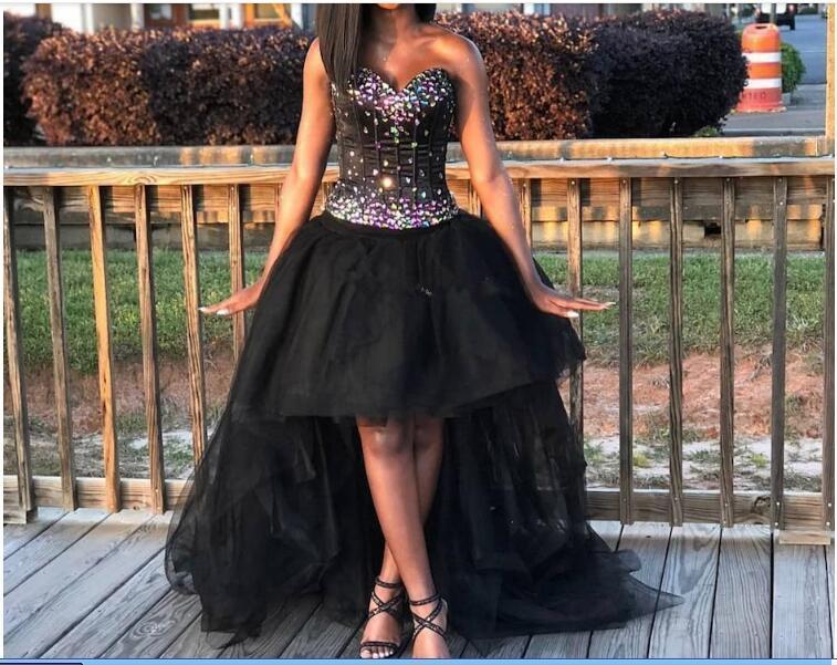 Sexy Милой черных девушки Homecoming платье Сияющего Стразы Привет-Lo Узелок Backless партия вечер платье без рукавов Пром платье