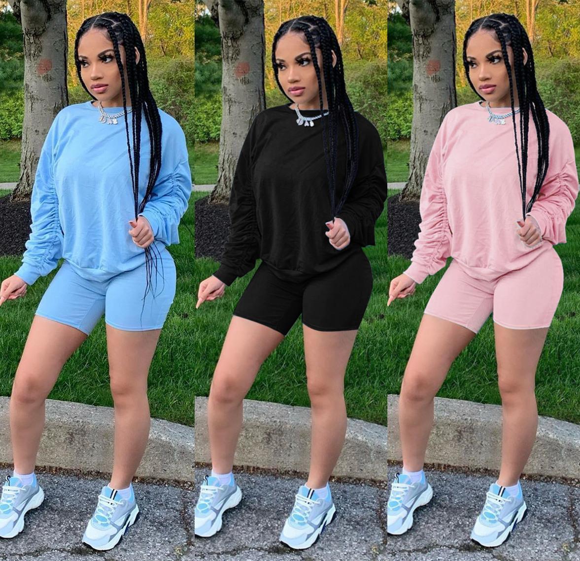 Короткая рукава трексуитов T рубашка + 1 брюки одежда женские девушки наборы дамы вскользь бегущая одежда взрослый спортивный костюм