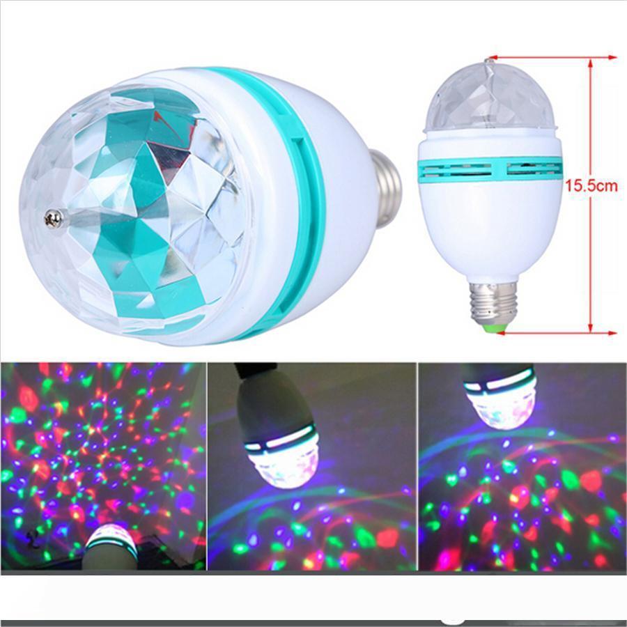 3W E27 RGB 전구 조명 풀 컬러 LED 크리스탈 무대 조명 자동 회전 무대 효과 DJ 램프 미니 무대 조명