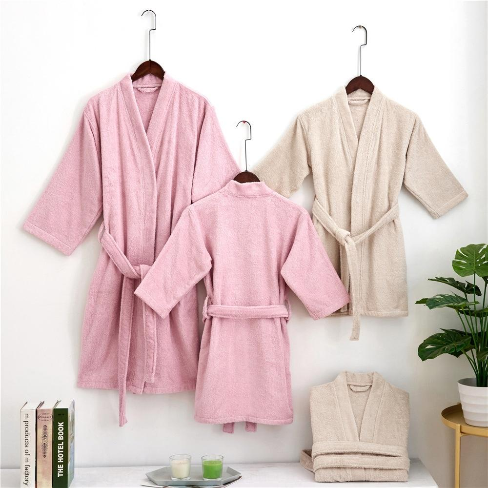 Cotton absorbent towel Towel bathrobe five-star hotel bathrobe male and female parent-child nightgown long style