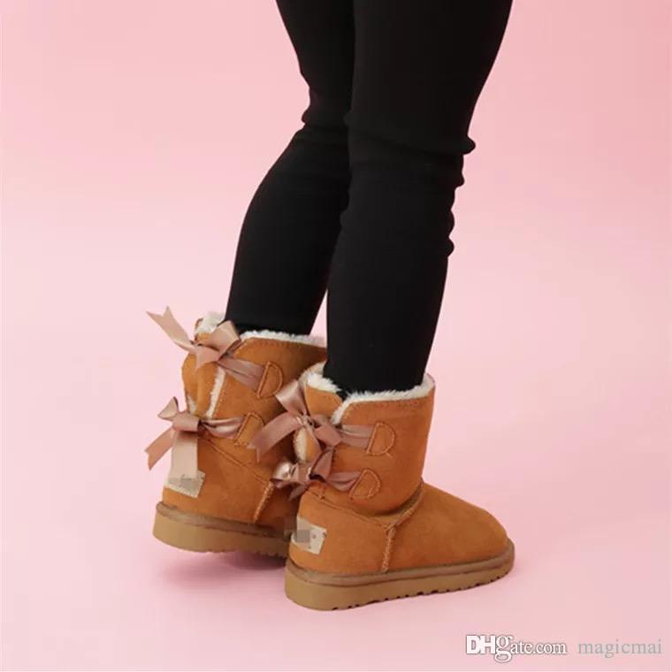انن أطفال أحذية الشتاء أحذية الدافئة مع Fleeze داخل جميل مزدوجة القوس أحذية مع أحذية عالية الجودة صندوق للبنات مدرسة الأحذية