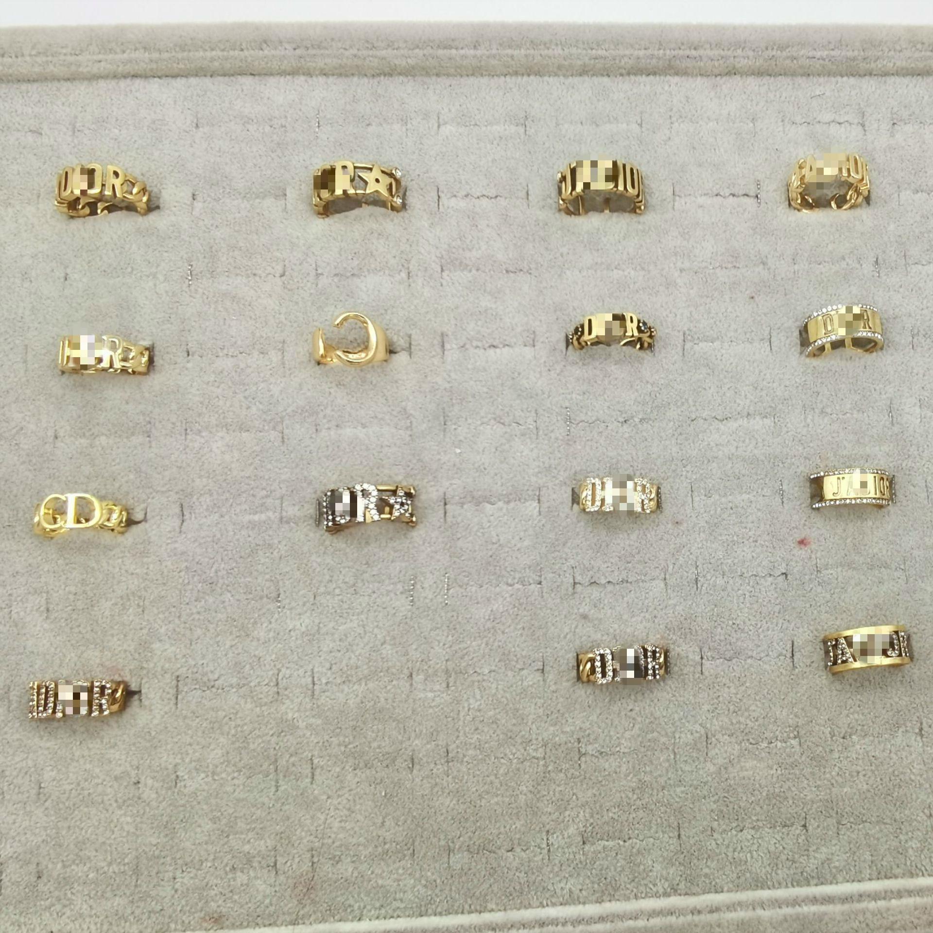 anneau dames bijoux design de luxe d'or bague réglable par la lettre D logo bague en diamant de mode
