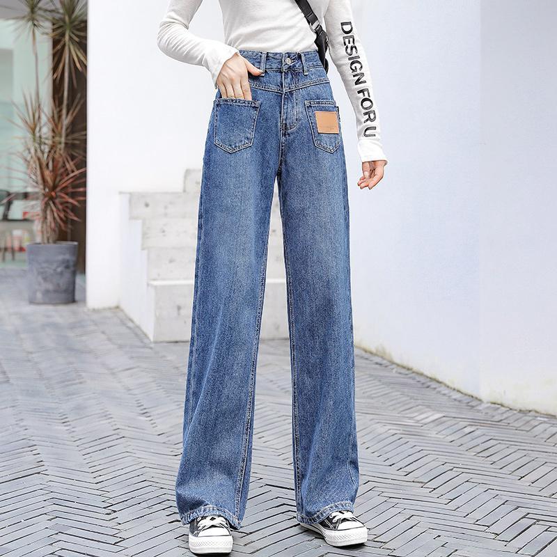 jeans pour femmes 2020 nouveaux jeans pantalons en denim jambe large bleu taille haute maman vintage jambe droite coréenne mode femme bouffant