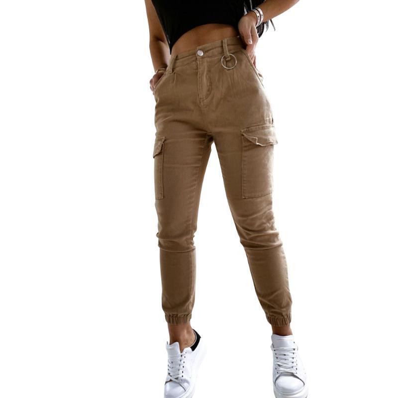 Pantalones de carga para las mujeres 2020 Verano Caqui Multi Casual Bolsillos Harem Tactical Pantalones Joggers Pantalones largos de Harajuku