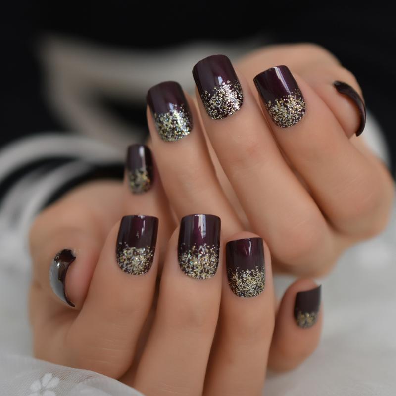 Scuro claret-colore di luccichio di scintillio falsi falsi Nails Full Cover Square Press su Unghie finte UV manicure della colla autoadesivo libero