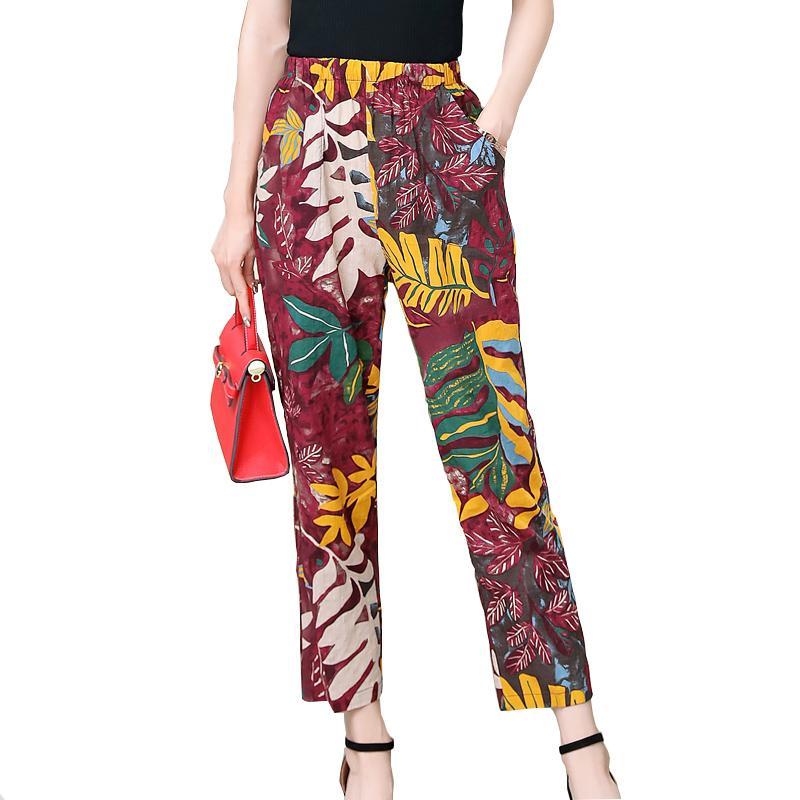 Nouveaux 2020 Casual Taille Plus Pantalon Imprimer femme Vintage taille élastique Pantalons d'été Pantalons Femme Streetwear