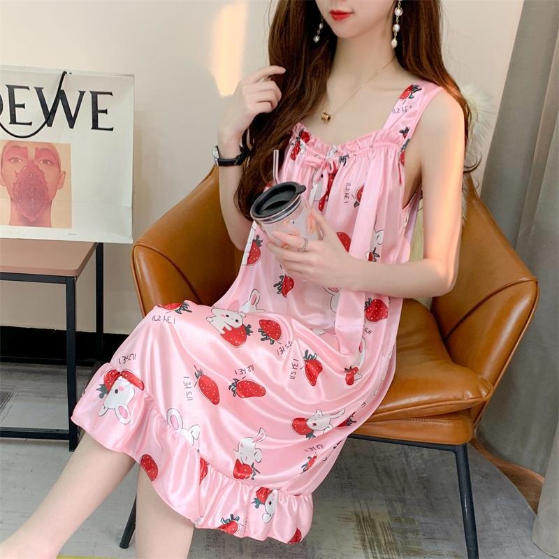 Size M-XXL Sleeping dress Lounge Nightgowns & Sleepshirt Sleepwear Satin Night Dress Nightwear Women Sexy Lingerie Indoor