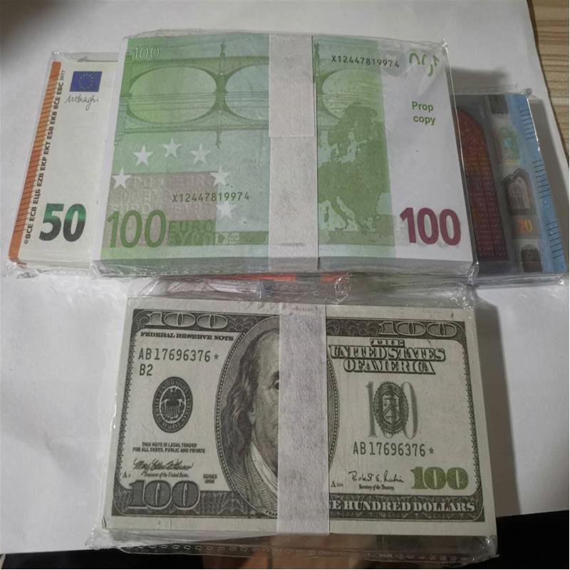 Faux Paper Money Paper 10 20 50 100 200 500 EUR 20 100 100 NOUVEAUX 100 DOLLARS 50 livres Bills Prix Banque Note 007
