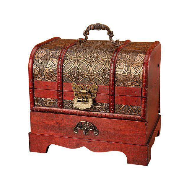 Decorative Trinket Jewelry Storage Box Handmade Vintage Wooden Treasure Case US