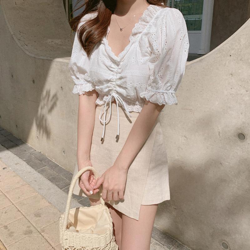 Bordado camiseta blanca del verano blusas tapas de las mujeres de la falda de las mujeres de manga corta de las muchachas de la blusa de lino de algodón de mini falda de los pantalones más el tamaño de QA5p #