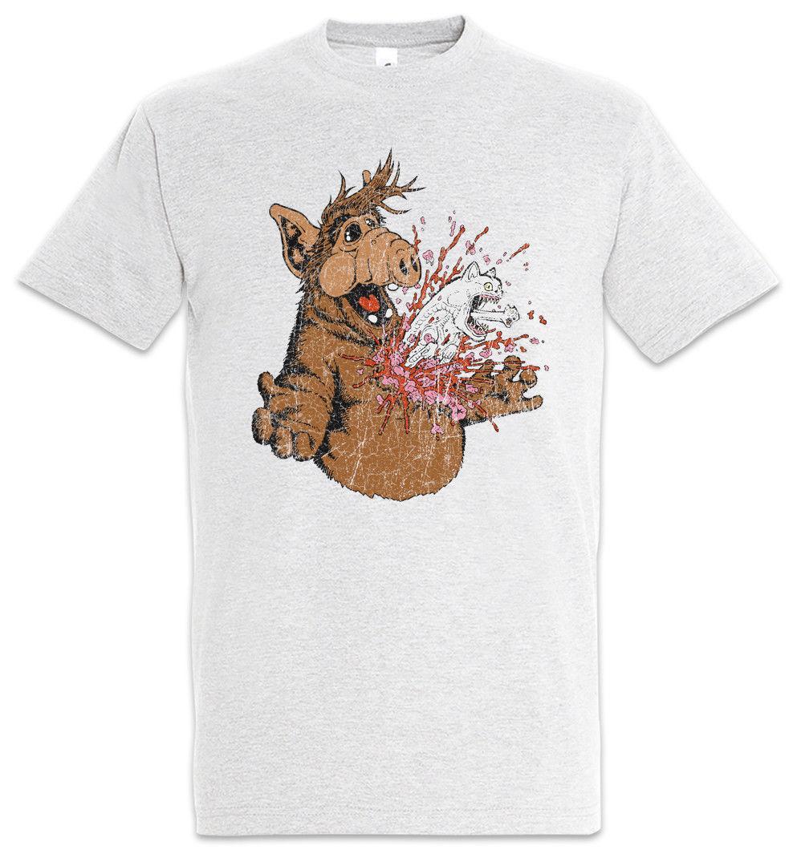 Una T-shirt Horror Alf Fun Alien Halloween Blood Splatter Gatto Gatti divertenti cartoni animati uomini della maglietta unisex di nuovo modo maglietta allentata