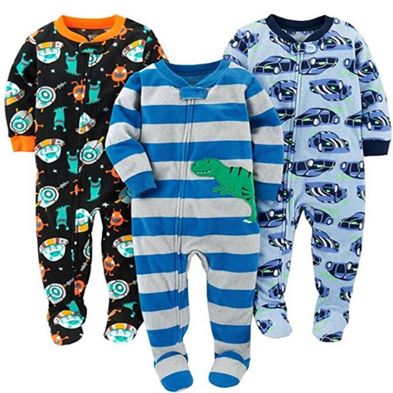 Children's fleece boy girl large size Siamese romper with feet Siamese clothes Harbin warm pajamas spring and autumn and winter CX200801