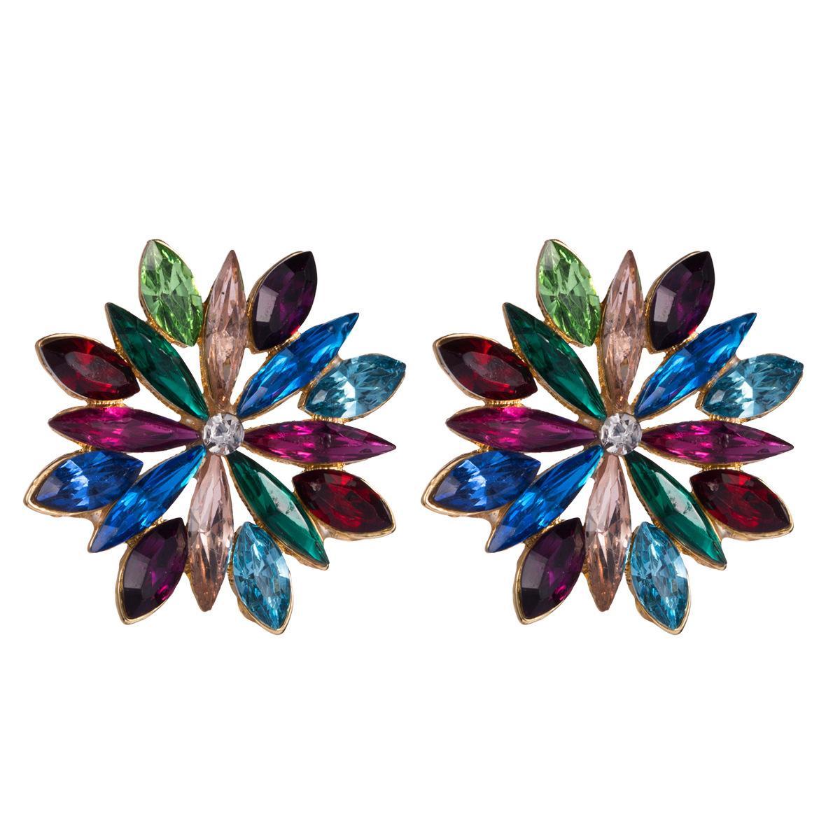 earrings alloy Diamond rhinestone flower earrings women's minimalist style earrings simple all-match