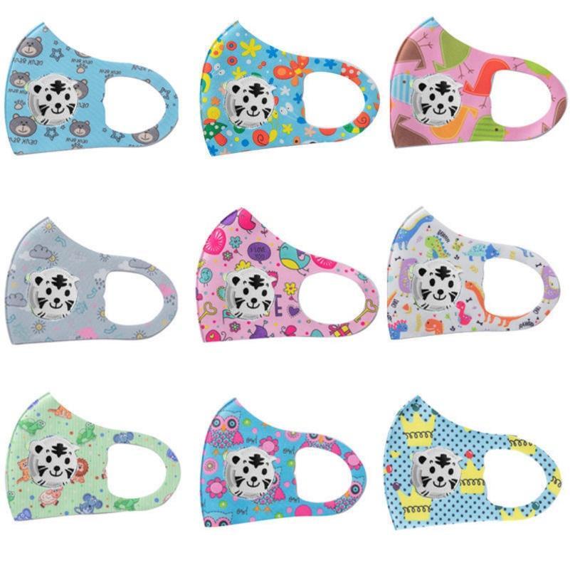 Çocuklar Buz İpek Karikatür Yıkanabilir Yeniden kullanılabilir Vana Maskeler Maske Valve Anti Toz Ayarlanabilir Yüz Maskeleri Maske Nefes