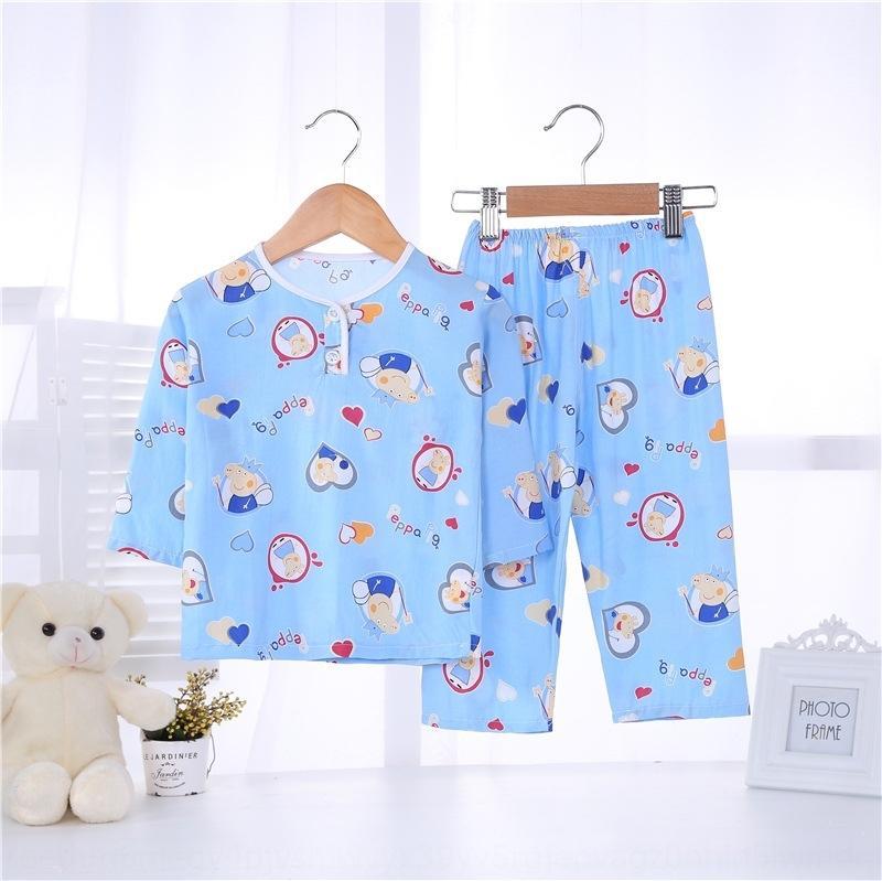 4De8X Çocuk pamuk Klima konfeksiyon pijama ipek pijama ince pamuklu ipek uzun 5 Yaz Boys 3 yaşında erkek 2 Yaz manşonlu
