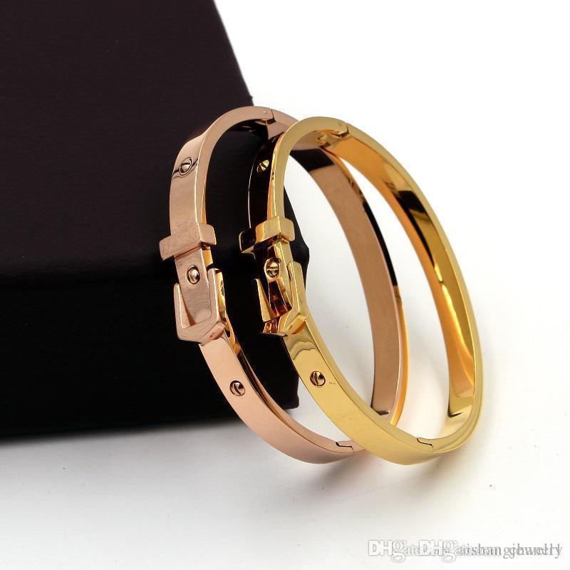 Kadınların doğum günü hediyesi için ztung PB19 moda kadın takı 18K altın kaplama bilezik ayarlanabilir boyutu Saat Kayışı tarzı