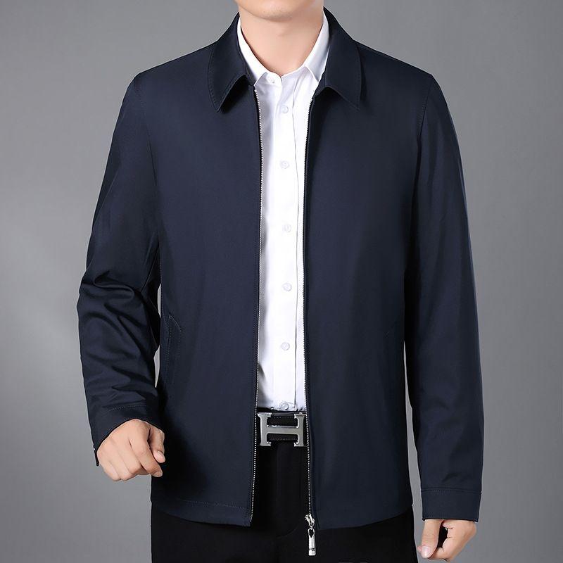 2020 vestiti di autunno vestito da affari bavero della giacca padre giacca colore del mantello solido sottile uomini di mezza età e anziani uomini della