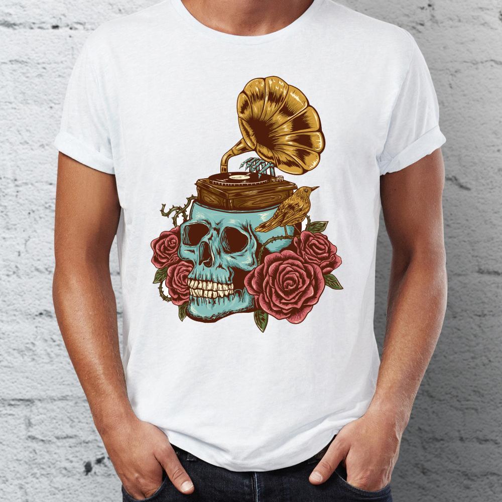 Camisa do T dos homens Artsy Crânio Tee