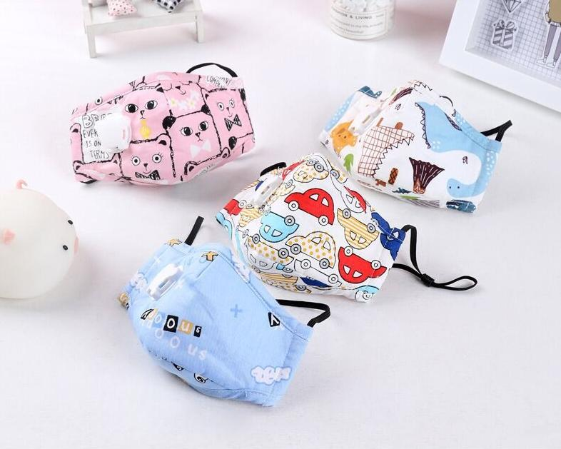 Children's mask with breathing valve pure cotton pm2.5 plug-in filter anti-haze dust-proof breathable cartoon activated carbon mask