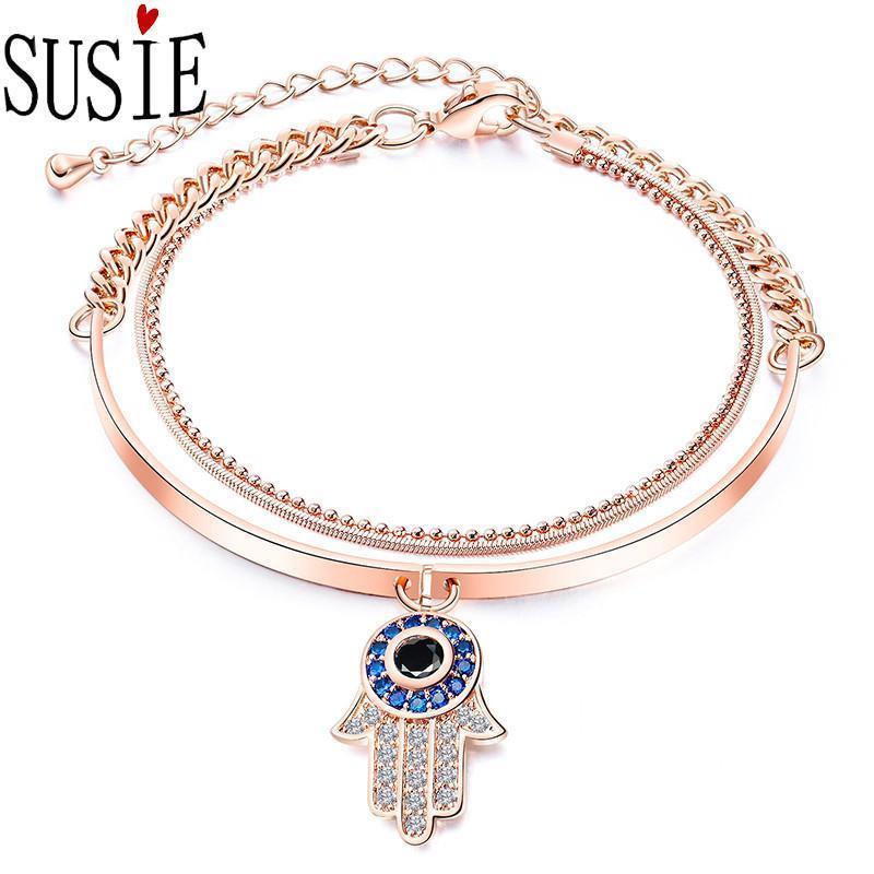 Regalo gioielli moda AMORE SUSIE Bracciali Donne Rose Gold Bangles con la traversa Butterfy in acciaio inox titanio Charm Bracelet