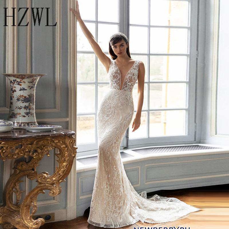 Beatiful Beaded Lace Wedding Dress for Bride 2020 New Mermaid Sheer V-Neck Sleeveless Bridal Gown Zipper Back Custom Made