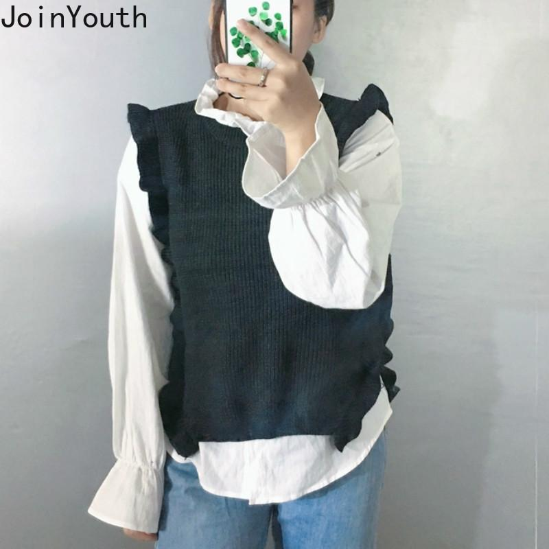 Joinyouth Knitted Vest Fashion Ruffles Sweater Sweet Preppy Style Solid Loose Knitwear Ladies Tops Sleeveless Pullovers 7a826