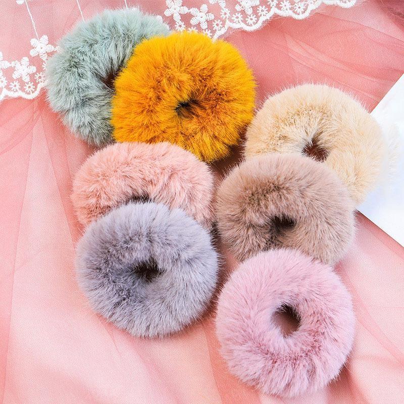 2020 Nouvelle fourrure cheveux corde CHOUCHOU Femmes Filles bandes élastiques en caoutchouc cheveux Porte-femmes Ponytail Accessoires cheveux 10 couleurs