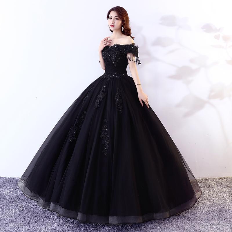 Luxus schwarze Quasten Perlen Embodiery Fee Long Kleid Kleid Opera Bühne Mittelalterliches Kleid Renaissance Cosplay Victoria Antoinette / Belle