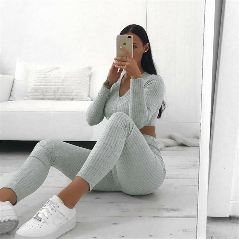 Hongmiao 2020 NEUE Frauen-Strick Lounge Wear Sets 2ST Crop Top Anzug Damen Anzug Set Herbst beiläufige Streetclubwear T200716