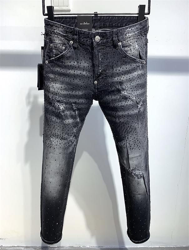 20ss Marka Moda Tasarımcısı Ripped Biker Erkek gündelik Jeans Slim Fit Biker Motosiklet Denim İçin Man S Siyah motosiklet kaya canlanma jean QA22