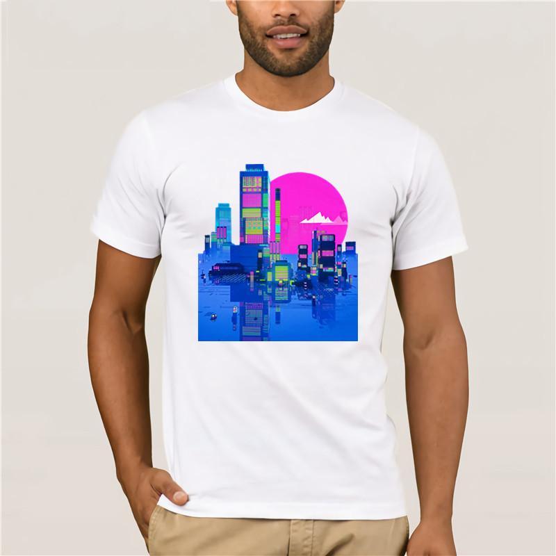 Camiseta horizonte de la ciudad animejapan ESTÉTICA vaporwave SKATE verano de la nueva marca camiseta deportiva de los hombres del hombre de Hip Hop de los hombres camisetas