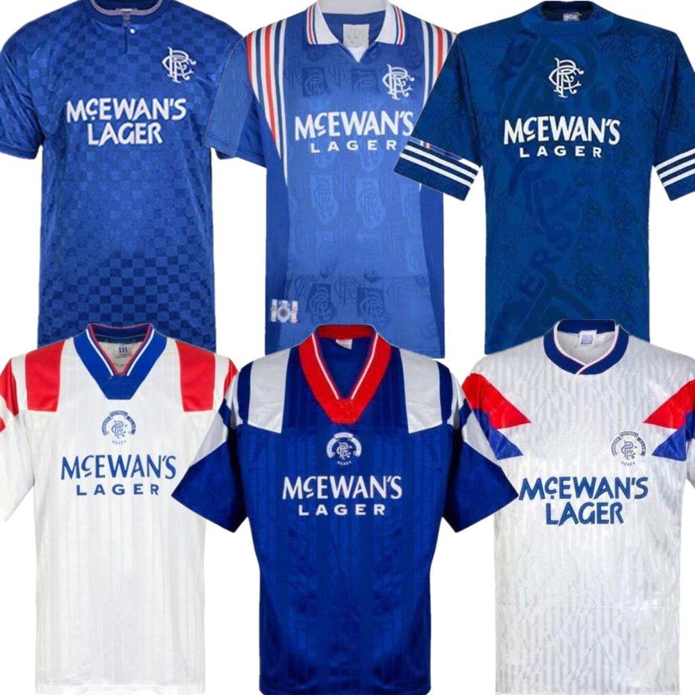 1987 1990 1992 1994 1996 1997 1999 Glasgow Rangers Retro pullover di calcio 97 99 01 GASCOIGNE Laudrup McCoist Albertz camice blu di calcio