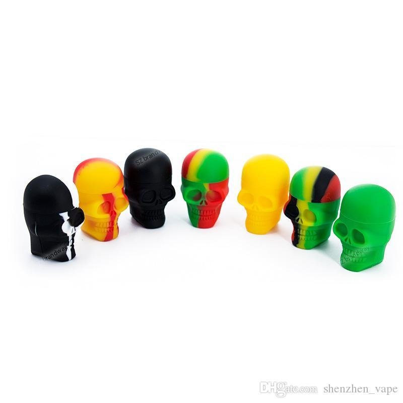 3ml Mini Skull Silicone Contenedor de calidad superior Caja de calidad sin bolsa Wholesale Contenedores de cera Tarro asombroso