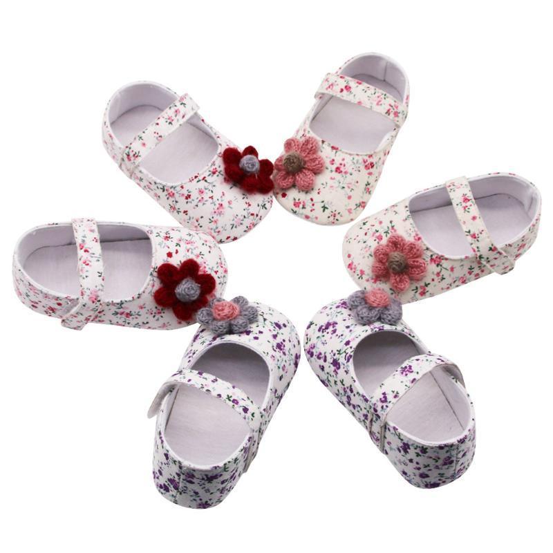 2020 marca nova primavera florais Bebés Meninas Shoes Flores Imprimir Princess Tênis Prewalker Crianças macia Sole único sapatos antiderrapante