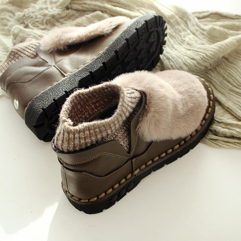 Neve stivali caldi Scarpe inverno Donne piatto caldo pile caviglia del cotone vintage slittamento casuale sui Donne calzino moda Scarpe